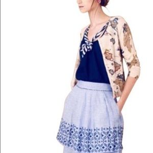 Anthropologie odille chambray tiered alphine skirt